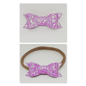 2.75 Inch Ivy Chunky Glitter Bow - Iridescent Bright Pink Amethyst
