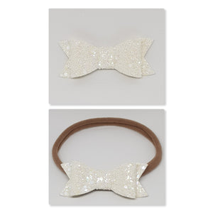 2.75 Inch Ivy Chunky Glitter Bow - Iridescent White