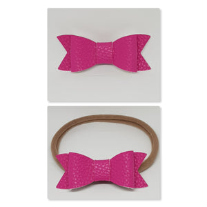 2.75 Inch Ivy Faux Leather Bow - Lipstick Pink