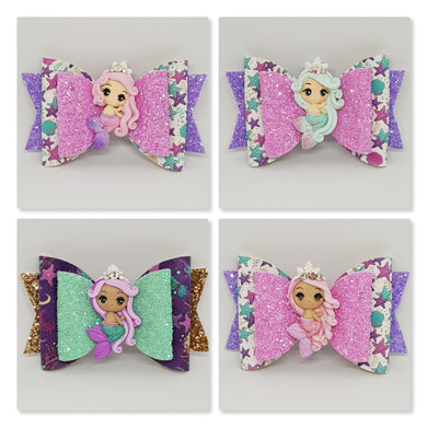 4.3 Inch Natalie Deluxe Double Leatherette Bow - Mermaid Princess