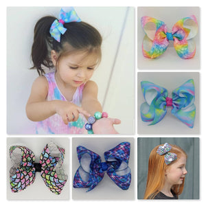 4 Inch Boutique Bow - Mermaid Scale