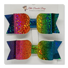 3.25 Inch Leatherette Bow Set of 2 - Multi Colours