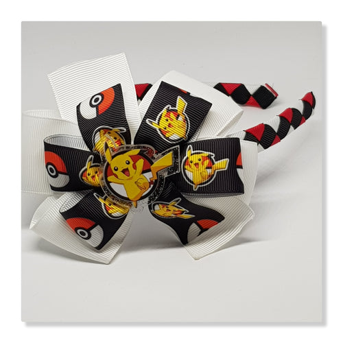 1/2 Woven Headband with Double Bow - Pokemon