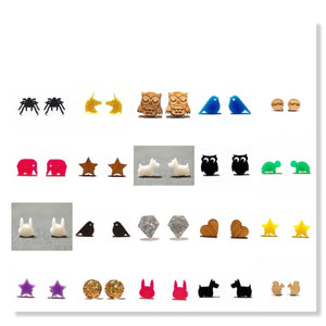 LBB Jigsaw Puzzle Stud Earrings - Yellow