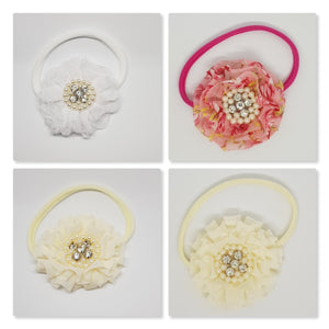 Nylon Headband - Chiffon & Lace Parisian Flower