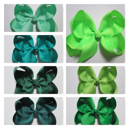 4 Inch Boutique Bow - Greens