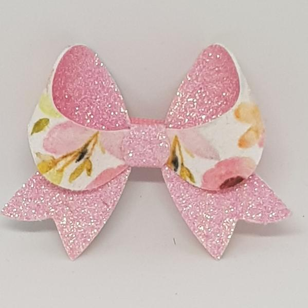 2.5 Inch Fancy Glitter & Suede Floral Bow