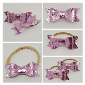 2.75 Inch Ivy Metallic Textured Leatherette Bow - Pink