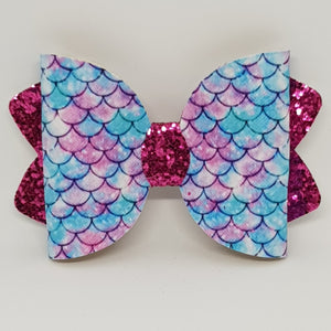 4.25 Inch Ava Leatherette Bow - Pink & Blue Mermaid Scale on Bubblegum Pink