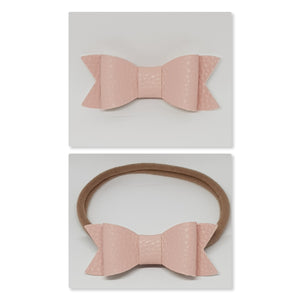 2.75 Inch Ivy Faux Leather Bow - Powder Pink