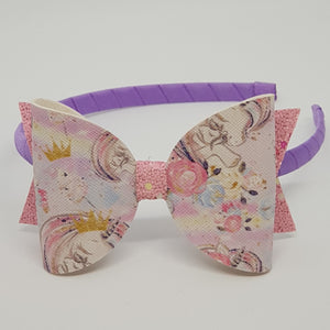 4.3 Inch Natalie Leatherette Bow Headband -  Princess Ponies