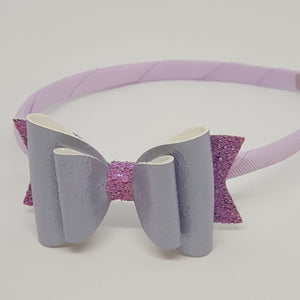 3.25 Inch Natalie Double Bow Headband - Purple Lace