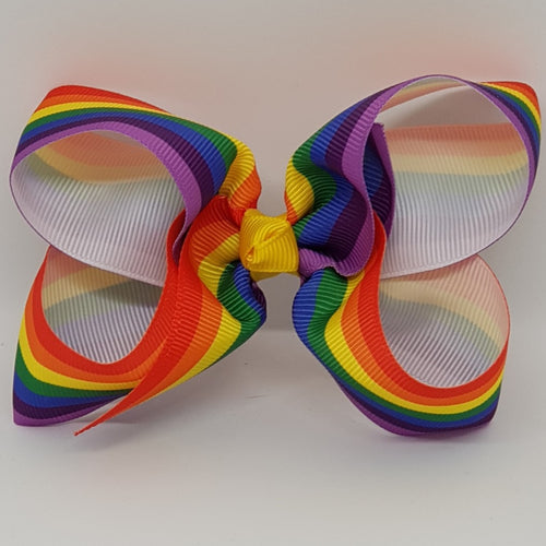 4 Inch Boutique Bow - Rainbow Stripes - Gay Pride Flag