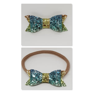 2.75 Inch Ivy Chunky Glitter Bow - Rainbow Blue Green & Yellow