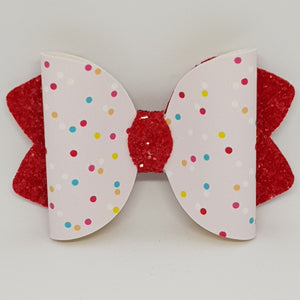 4.25 Inch Ava Leatherette Bow - Rainbow Polka Dots on Tomato Red