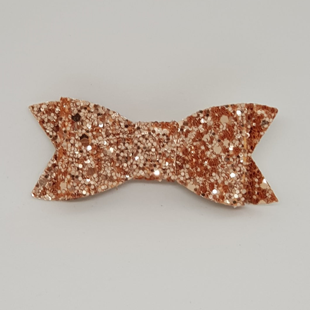 2.75 Inch Ivy Chunky Glitter Bow - Rose Gold