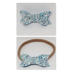 2.75 Inch Ivy Chunky Glitter Bow - Sea Spray