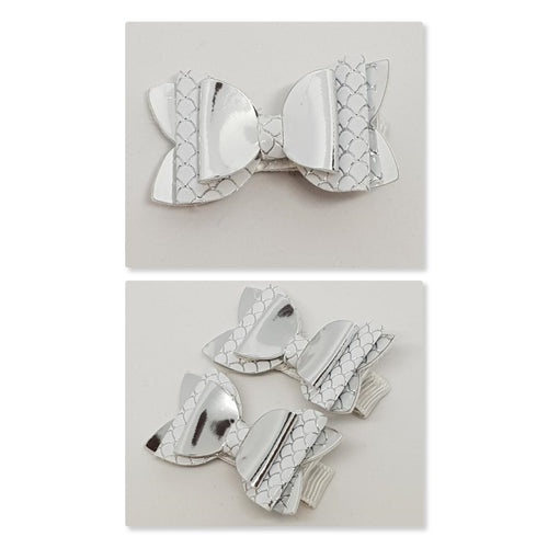 1.75 Inch Baby Imogen Bow - Silver Mermaid Scale