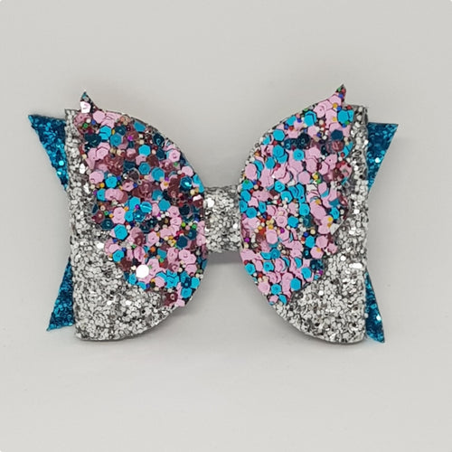 4 Inch Glitter Angel Wings Bow - Silver on Turquoise with Sparkle & Sass Wings