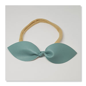 Faux Leather Top Knot Headband - Smooth Texture Solids