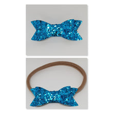 2.75 Inch Ivy Chunky Glitter Bow - Turquoise