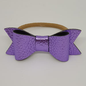 2.75 Inch Ivy Metallic Textured Leatherette Bow - Violet