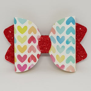 4.25 Inch Ava Leatherette Bow - Watercolour Hearts on Tomato Red