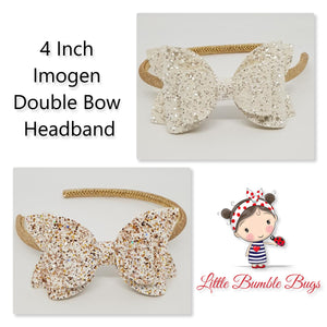 4 Inch Imogen Double Bow Headband - White Chunky Glitter