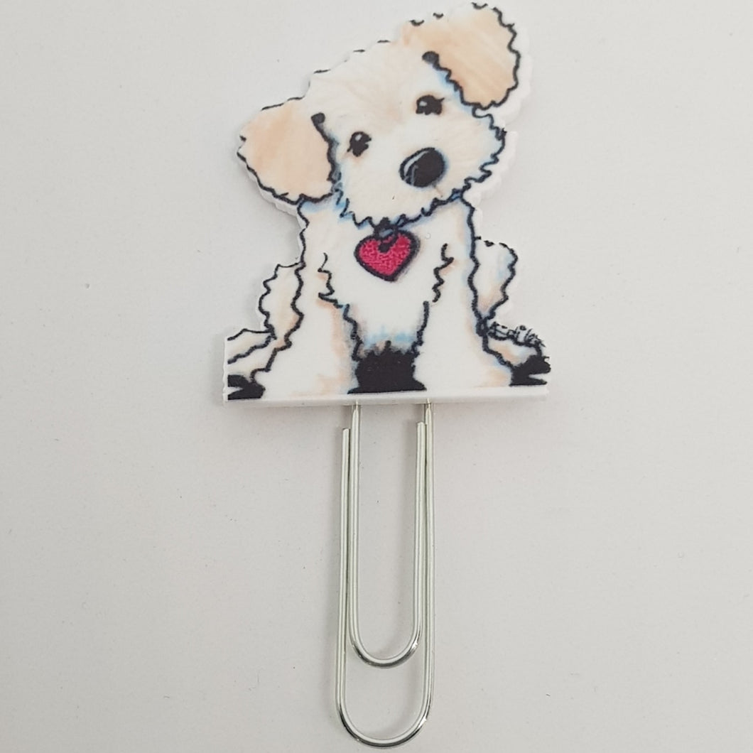 Planner Clip - White Fluffy Dog