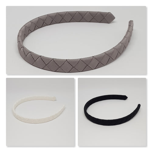 1/2 Inch Woven Headband - Black to White