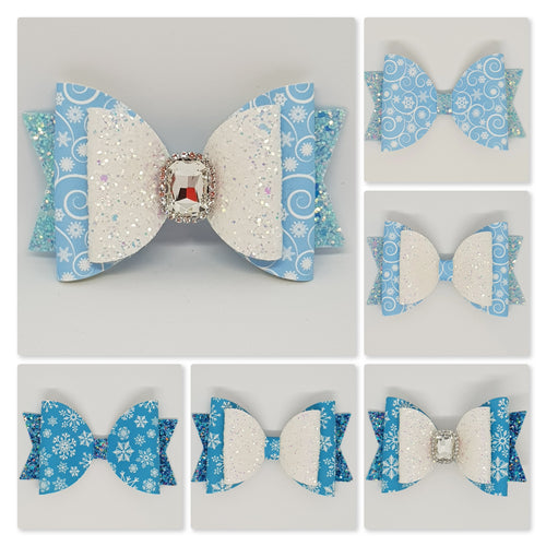 4.3 Inch Natalie Double Leatherette Bow - Winter Snowflakes & Swirls