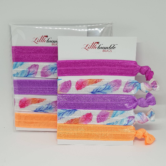 Yoga Hair Tie Set - Feathers