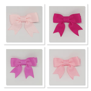 2 Inch Hair Bows with Tails - Pinks