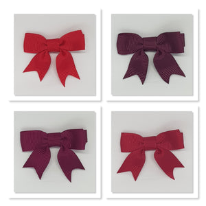 2 Inch Hair Bows with Tails - Reds