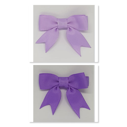 2 Inch Hair Bows with Tails - Purples