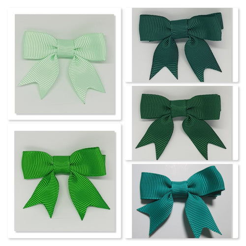 2 Inch Hair Bows with Tails - Greens