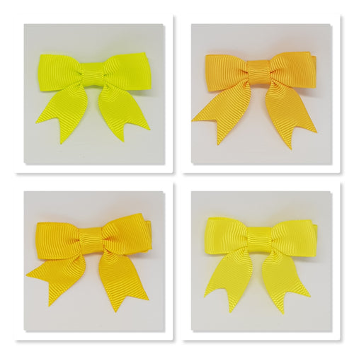 2 Inch Hair Bows with Tails - Yellows