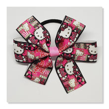 3.5 Inch Pinwheel Bow on Elastic - Hello Kitty