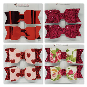 3.25 Inch Leatherette Bow Set of 2 - Reds