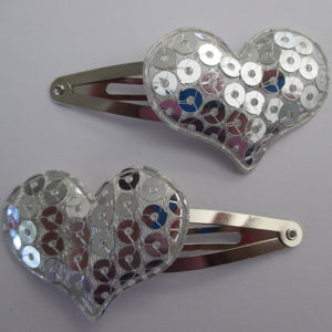 5 cm Snap Clips - Sequin Hearts