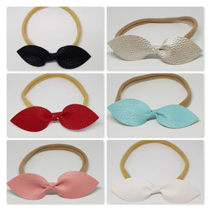 Faux Leather Top Knot Headband - Textured Solid Colours