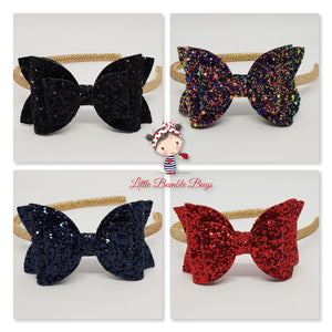 4 Inch Imogen Double Bow Headband - Chunky Glitter on Gold
