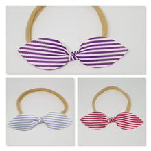 Candy Stripe Faux Leather Top Knot Headbands on Soft Stretchy Nylon Headbands