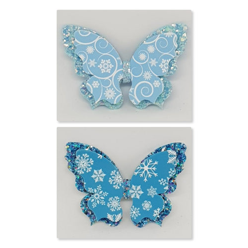 Double Fancy Butterfly Clip - Winter Wonderland
