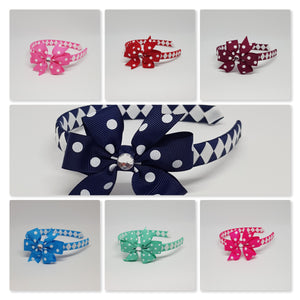 1/2 Inch Woven Headband with White Oil Spot Bow