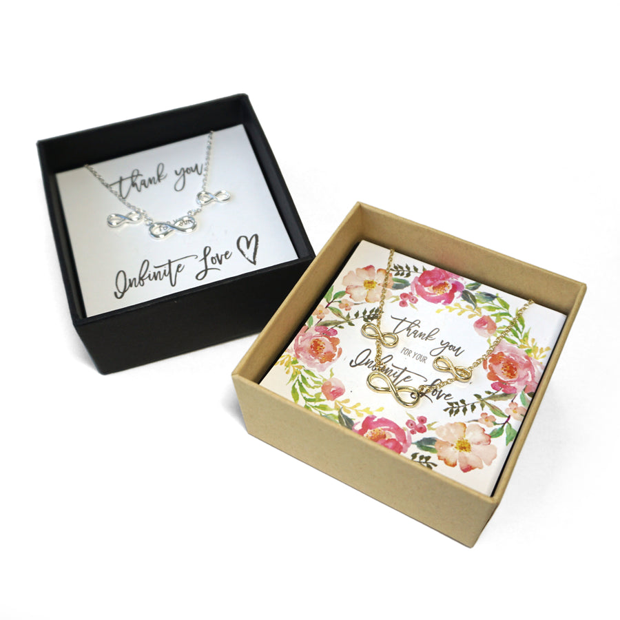 Infinity Love Necklace & Earrings - Wedding Gift Box Set