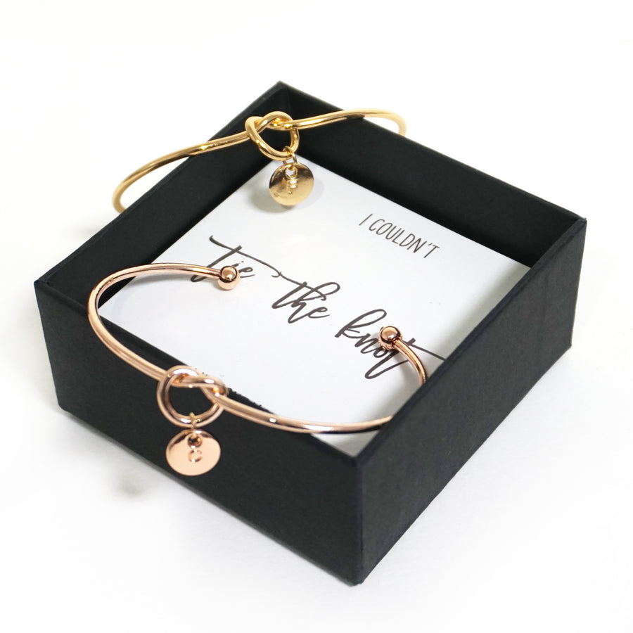 Custom Initial Tie the Knot Bracelet - Bridesmaid Proposal Box Set
