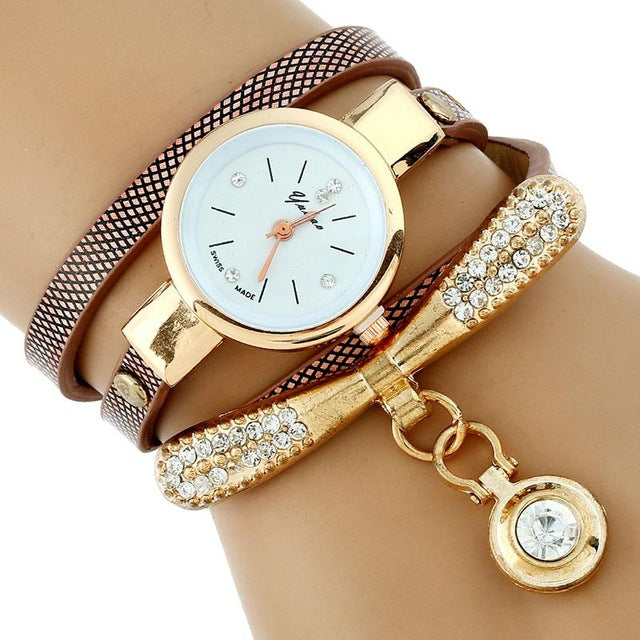 Gold Rhinestone Leather Bracelet Watch