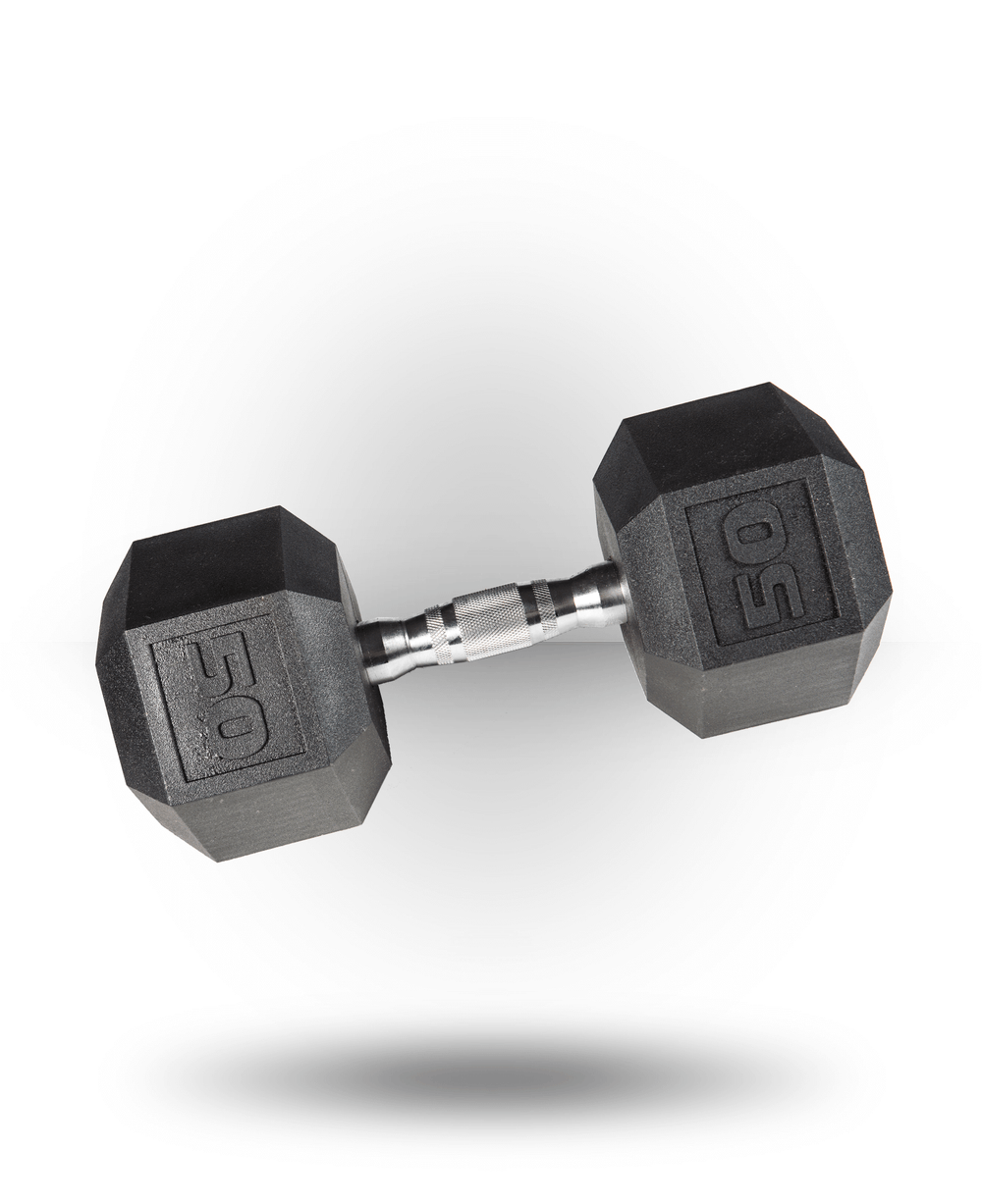 York Barbell PVC Hex Dumbbell With Chrome Ergo Handle 50 lb