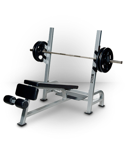 York Barbell Olympic Decline Bench With Gun Racks Silver